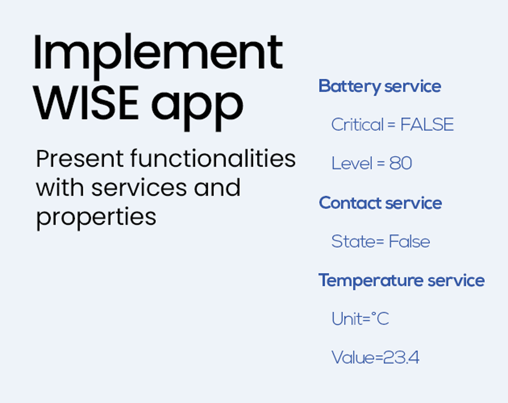 oblo implement wise app present functionalities with services and properties connectivity sdk module modules